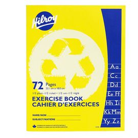 Hilroy Recycled Exercise Book 1/2 Ruled 1/2 Blank - 72 pages