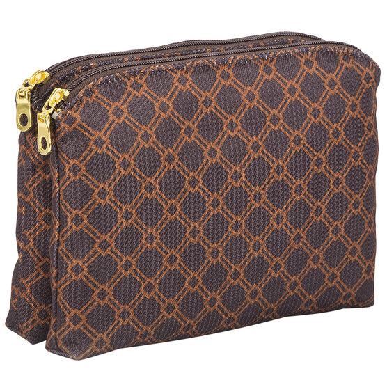 Modella Brown Faux Jacquard Clutch - A002012LDC