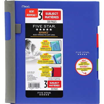 Five Star Advance 3 Subject Notebook - Assorted