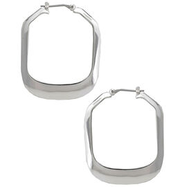 Kenneth Cole Large Rectangle Shiny Hoop Earrings - Silver Tone