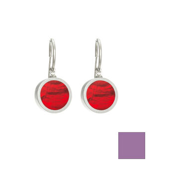 Merx Reversible Circle Resin Shell Drop Earrings - Violet/Red