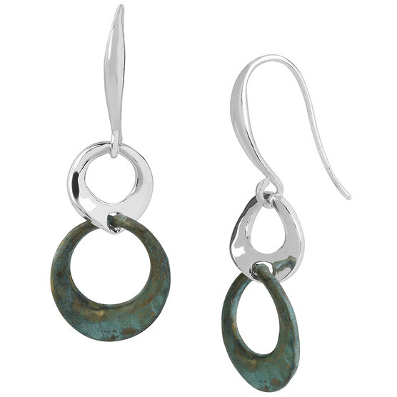 Robert Lee Morris Silver Plated Double Drop Earrings - Patina