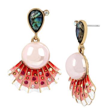 Betsey Johnson Sea Shell Drop Earrings - Pink/Gold