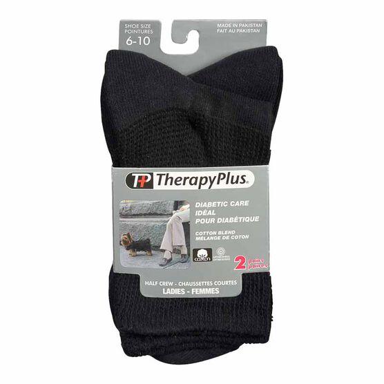 TherapyPlus Women's Diabetic Casual Crew Socks - Shoe Size 6-10 - Black - 2 pairs