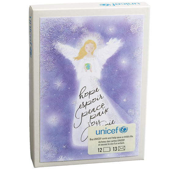 Unicef Christmas Cards - Purple Angel - 12 pack