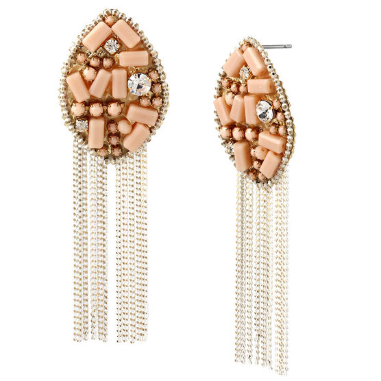 Haskell Beaded Chain Earrings - Multi/Gold
