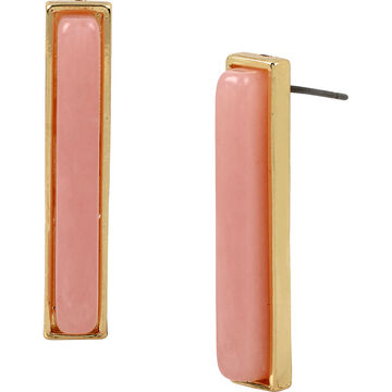 Haskell Rectangle Stone Earrings -Peach/Gold