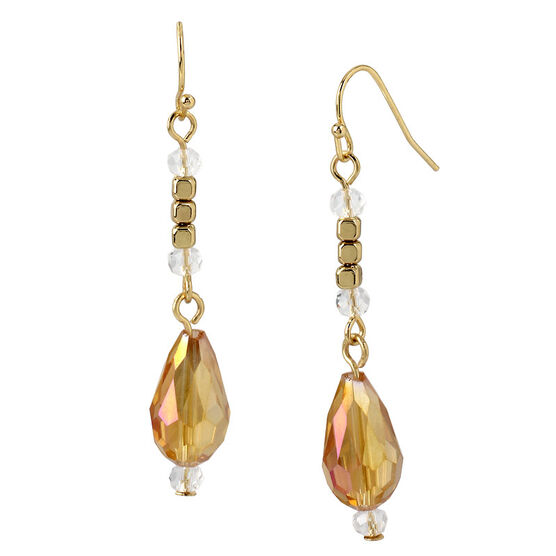Haskell Crystal Drop Earrings - Peach/Gold