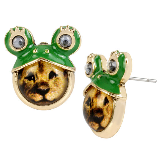 Betsey Johnson Costume Critters Frog Lion Stud Earrings - Green