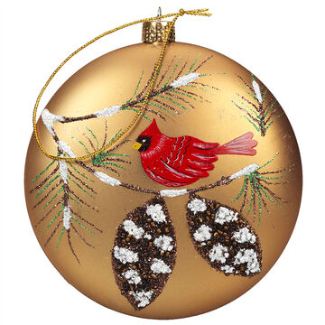 Winter Wishes Cardinal Disk Ornament - 100 mm