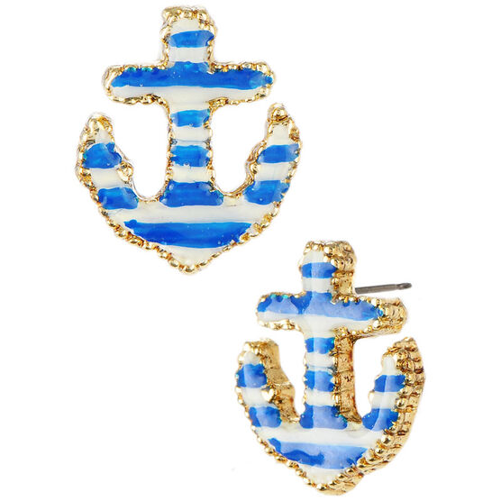 Betsey Johnson Anchor Stud Earrings - Blue & White