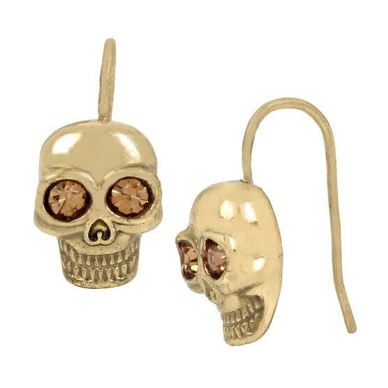 Betsey Johnson Dark Skull Drop Earrings - Gold