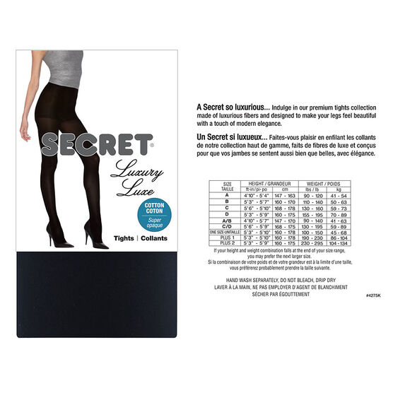 Secret Luxury Cotton Touch Control Tights - C - Black
