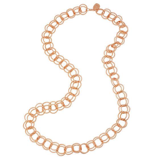 Betsey Johnson Circle Link Necklace - Rose Gold Tone