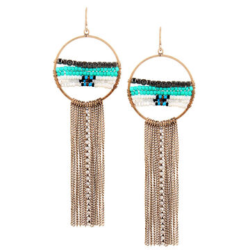 Haskell Beaded and Chain Hoop Earrings - Turquoise/Gold
