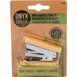 Onyx + Green Mini Bamboo Stapler