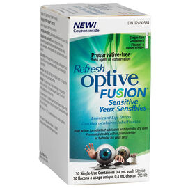 Refresh Optive Fusion Sensitive Lubricant Eye Drops - 30 x .4ml