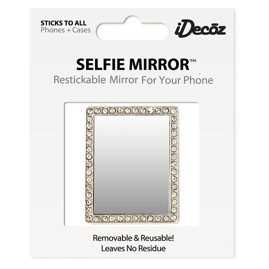 iDecoz Cubic Zirconia Rectangle Selfie Mirror - Silver