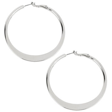 Kenneth Cole Shiny Hoop Earrings - Silver Tone