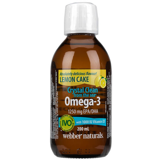 Webber Naturals Crystal Clean Liquid Omega-3 - 1250mg - Coconut Lime - 200ml
