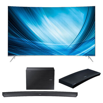 Samsung 55-in Curved 4K Smart TV + 2.1-ch Curved Soundbar + UHD Blu-ray Player Package - PKG #30667