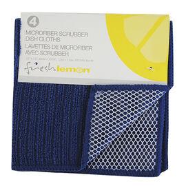 Fresh Lemon Microfibre Scrubbing Dish Cloth - Blue - 4 pack