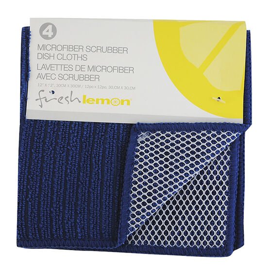 Fresh Lemon Microfibre Scrubbing Dish Cloth - Blue - 4 pack
