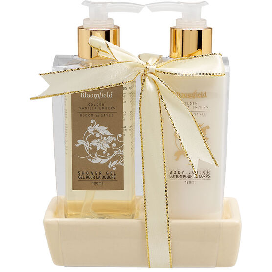Bloomfield Gift set with Hand Soap Dish - Golden Vanilla Embers - 2 piece