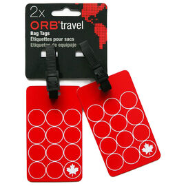 Orb Luggage Tags - Maple Leaf - 2-Pack - Red/White - EM201