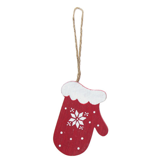 Winter Wishes Wooden Mitten Ornament - 4in - XLD2016-7MFOB