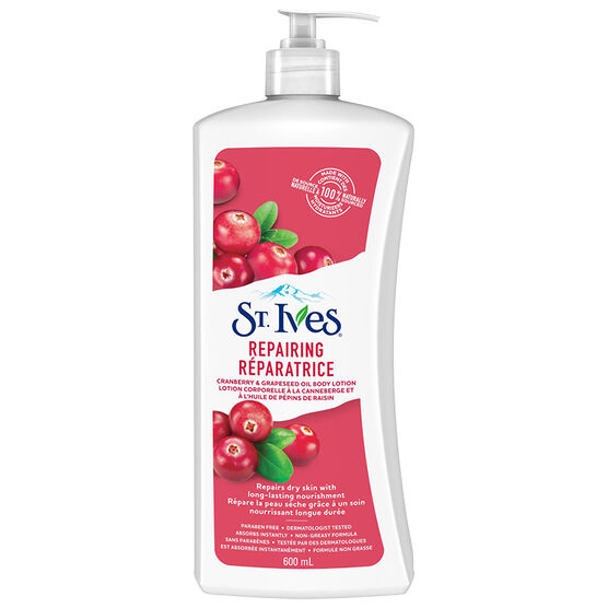 St. Ives Intensive Healing Body Lotion - Cranberry Seed & Grape Seed Oil - 600ml