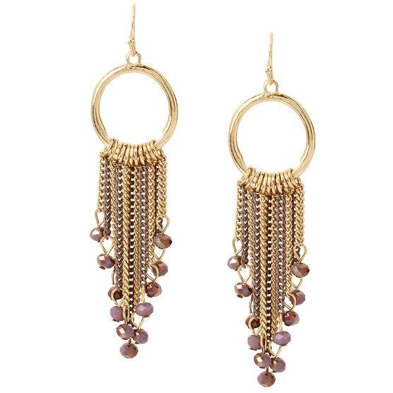 Haskell Fringe Earrings - Berry/Gold