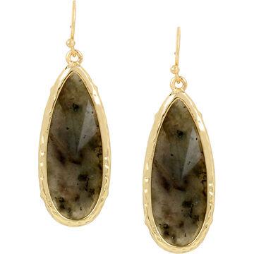 Haskell Stone Teardrop Earrings - Grey/Gold