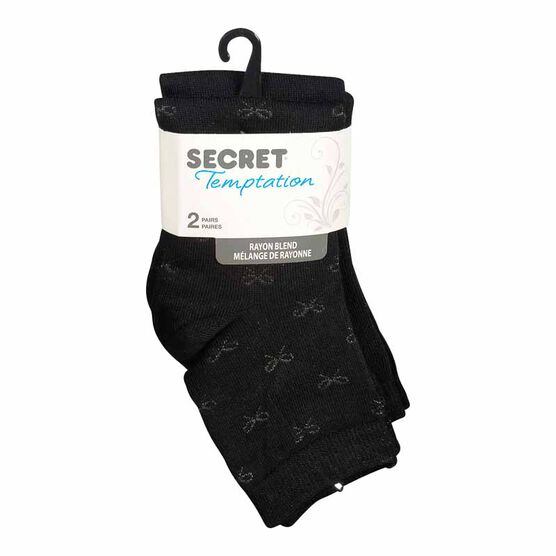 Secret Temptation Quarter Socks - Bow Pattern - Black - 2 Pairs