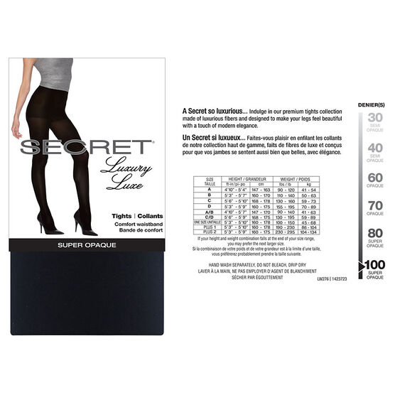Secret Luxury Matte Opaque Tights - B - Black