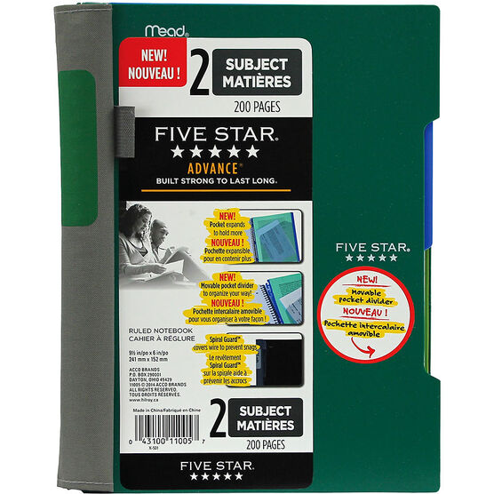 Five Star Advance 2 Subject Notebook - Assorted
