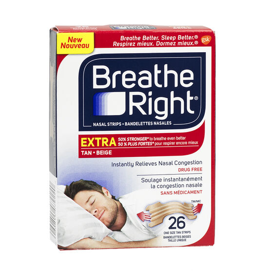 Breathe Right Nasal Strips Extra - Tan - 26's