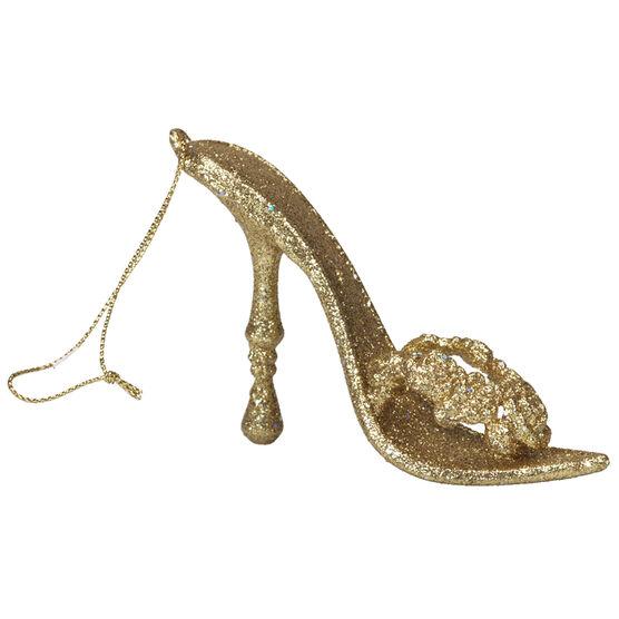 Winter Wishes Elegance High Heel Slipper Ornament - 4.5 inch - Gold