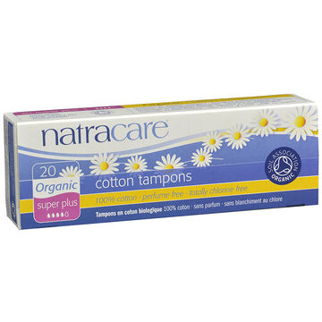 Natracare 100% Certified Organic Cotton Tampons - Super Plus 20's