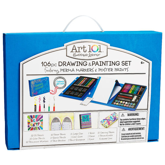 Art 101 Budding Artist Drawing & Painting Set - 106 pieces