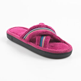 Isotoner Stripe X-Cross Slipper