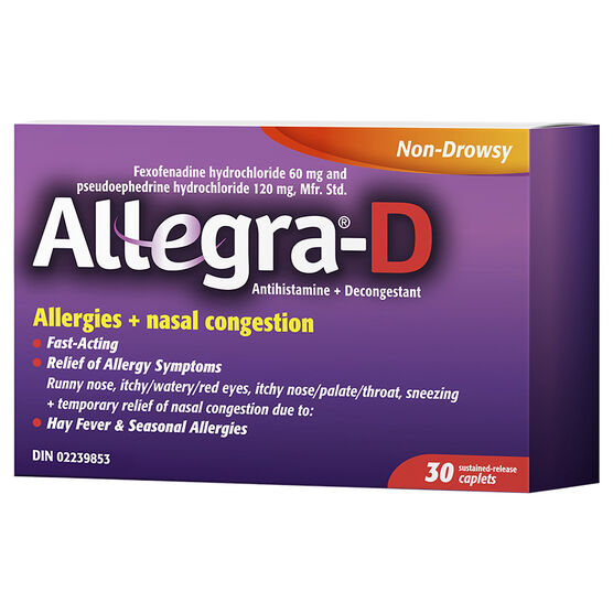 Allegra-D Allergies + Nasal Congestion - 60/120mg/ 30's