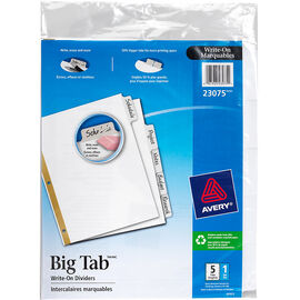 Avery Big Write On Divider - 5-Tab set