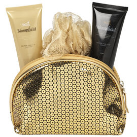 Bloomfield Bath Gift Set with Cosmetic Bag - Golden Vanilla Embers - 4 piece