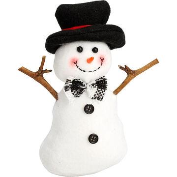 "Winter Wishes Black Tie Snowman Ornament - 5"" - Black Hat"