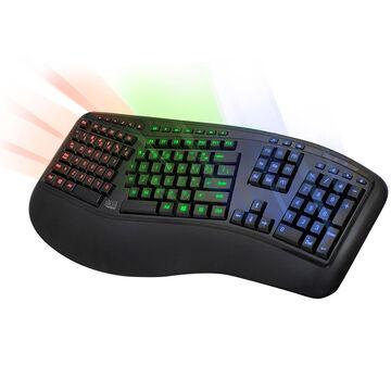 Adesso Tru-Form 150 Illuminated Ergonomic Gaming Keyboard - Black - AKB-150EB