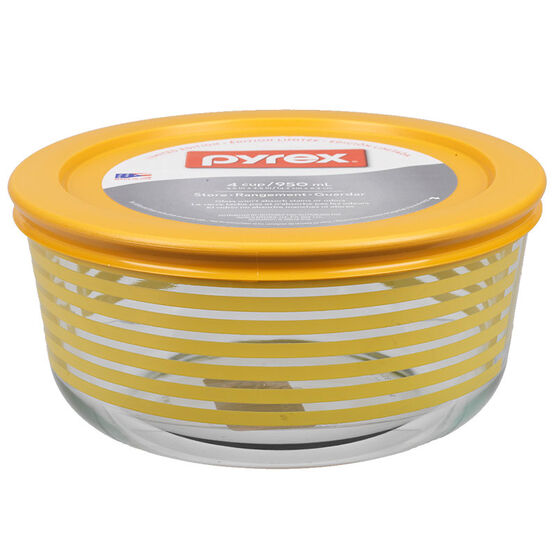 Pyrex Storage Container - Yellow Stripes - 4 Cups