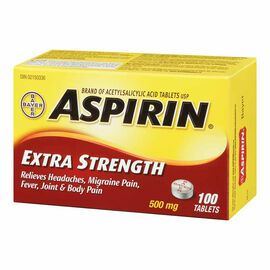 ASPIRIN Extra Strength Tablets - 500mg - 100'S