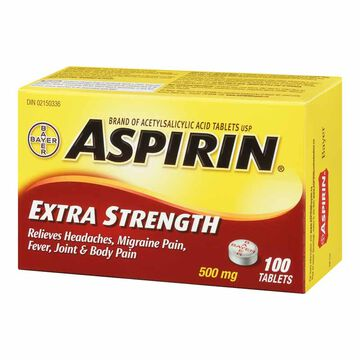 ASPIRIN Extra Strength Tablets - 500mg - 100'S