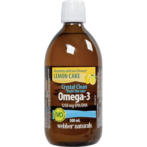 Webber Naturals Crystal Clean Liquid Omega-3 - Lemon Cake - 500ml